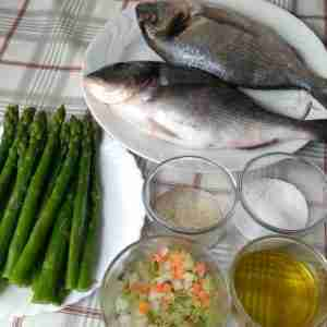 baked sea bream fillets with asparagus